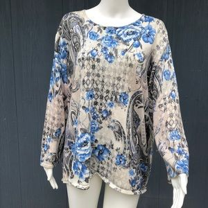 Alfred Dunner Blue Floral Sparkly Sweater Sz XL